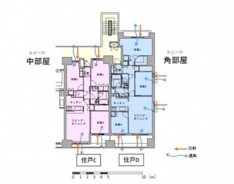 【図2】角部屋と中部屋の通風・採光条件を比較
