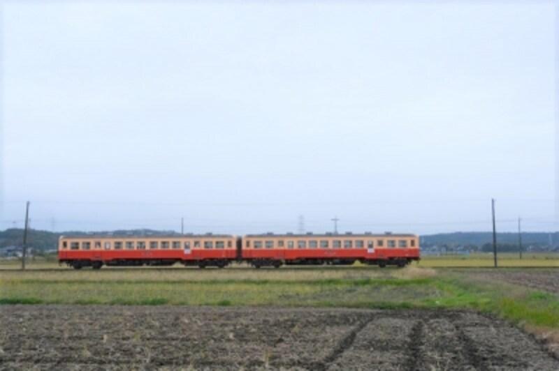 田園地帯をのんびり走る小湊鐵道のディーゼルカー