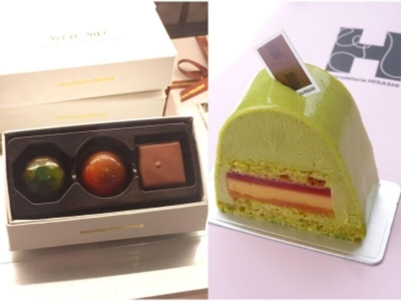 「ショコラトリーヒサシ」に並ぶ、世界大会優勝作品のボンボンショコラやチョコレートケーキに注目