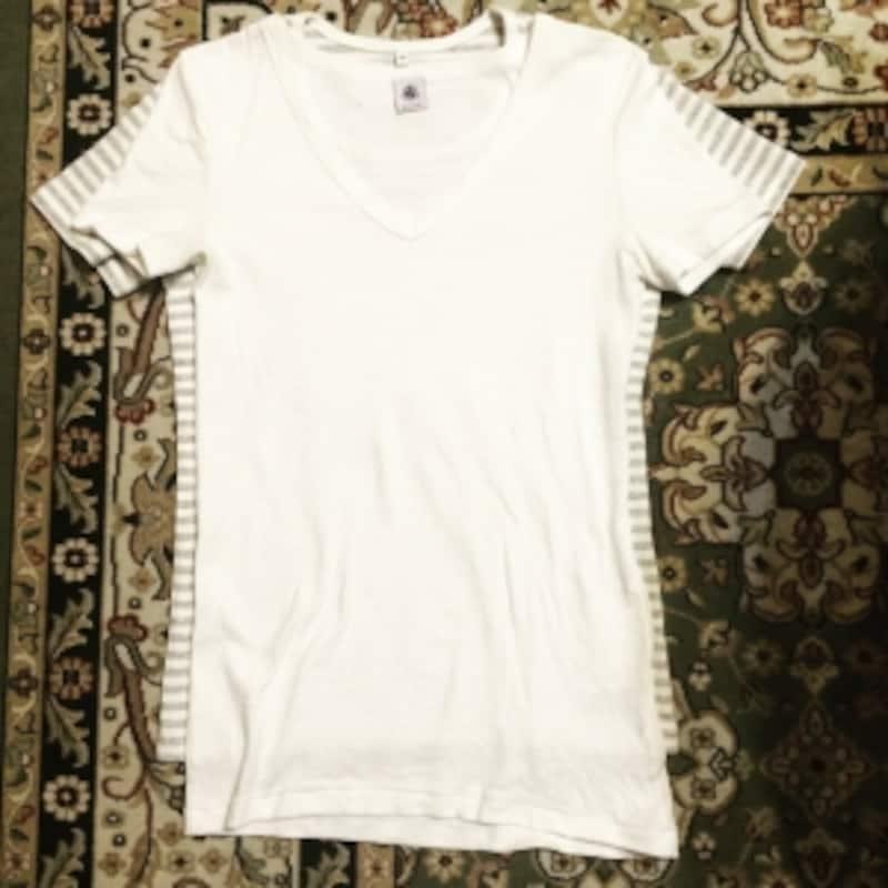 プチバトーのTシャツと無印良品のTシャツ比較