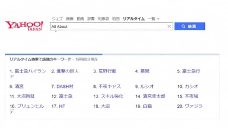 リアルタイム検索サービスのサイト画面