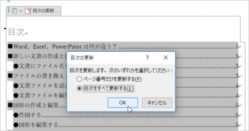 更新の方法を指定します。ここでは[目次すべてを更新する]を指定して[OK]をクリックします。なお、ページ番号だけてよいなら、[ページ番号だけを更新する]を指定してください