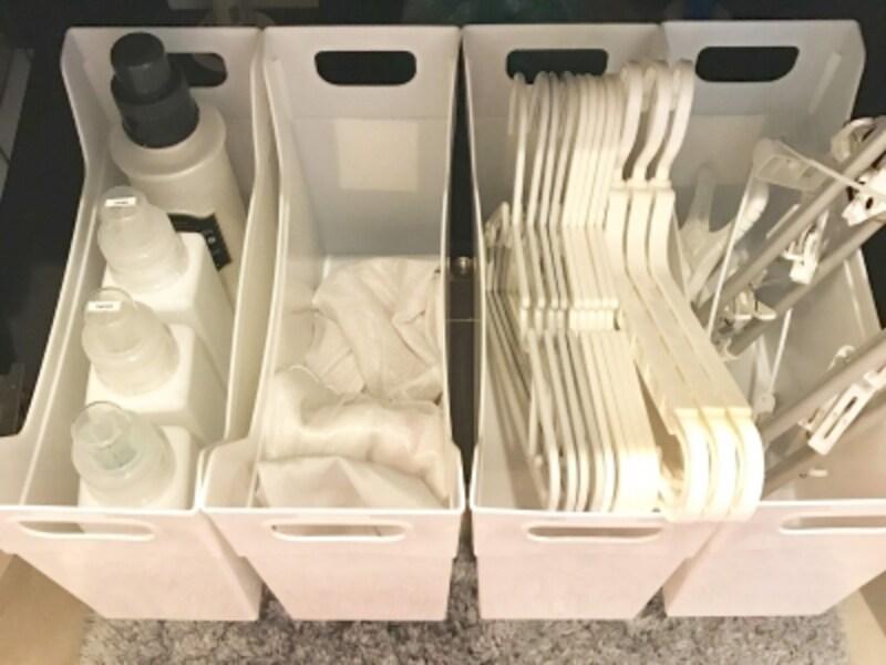 ファイルボックスを使った洗濯用品の収納