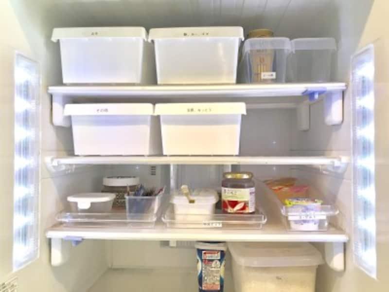 100均の収納ボックス活用実例:冷蔵庫内の収納に使用した例