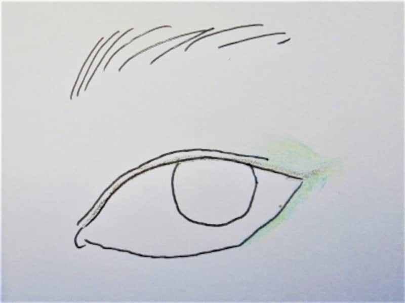 目尻広めに塗って、下まぶたにライン的に入れると瞳がきれいに見えます!