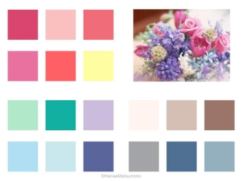 サマータイプは、ブルーベースの中でも、優しいパステルカラー(中明度・中彩度)、ソフトな中間色(中明度・低~中彩度)が似合います
