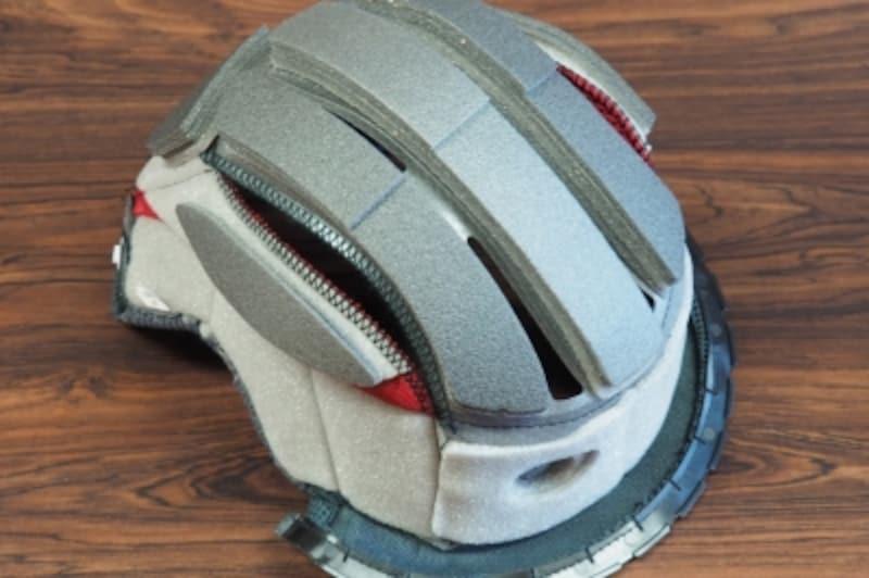 重いヘルメットほどずれた時に頭がふられないようにPFSで内装調整する事をオススメしたい!画像は私のJundefinedFORCE4の調整後の内装写真