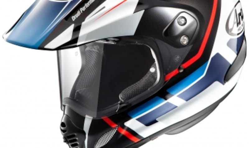 視野をプラスチック製スクリーンでカバーするタイプのオフロードヘルメット