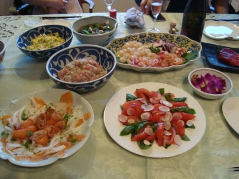ガバちゃんさんがゲットした豪華賞品で、お友達とホームパーティーを開催したときの食事