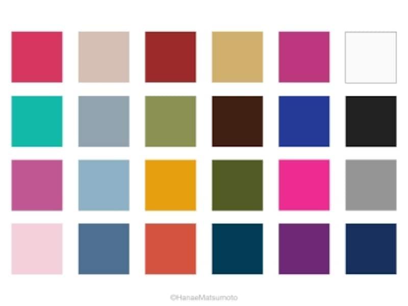 スプリング(春)の人に似合わない色を集めたカラーパレット。左2列は、サマータイプのグレーがかった微妙な色、中央2列は、オータムタイプの重苦しい色、右2列は、ウィンタータイプの青みが強い色とモノトーン