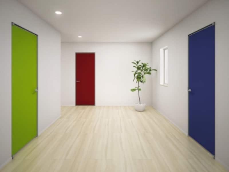 シンプルな空間にポイントとなるような色合いの扉としても。好みの壁紙を貼ることが可能な扉商品。[famitto部屋ごとの貼り分け]YKKAPhttp://www.ykkap.co.jp/