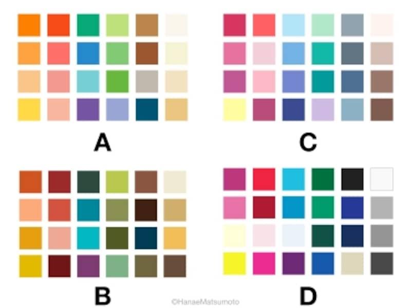 A~Dのカラーパレットの中から、最も好きなものを選んでください