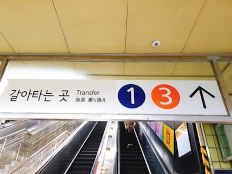 ソウルの地下鉄乗り換え