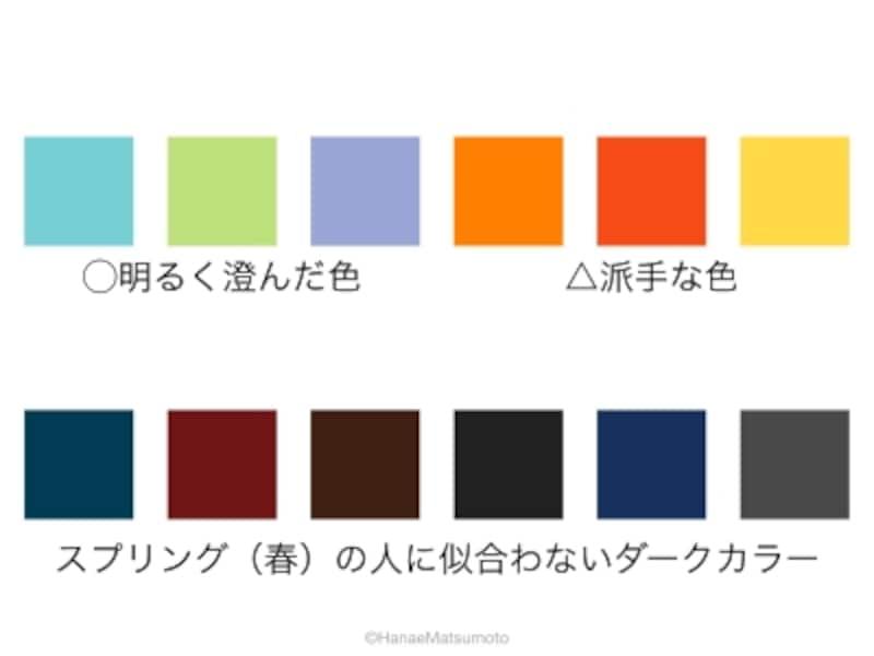 スプリング(春)の人に、重厚なダークカラーは似合いません。ダークカラーと相性がよいのは明るく澄んだ色。派手な色は避けたほうがよいでしょう
