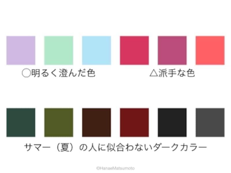 サマー(夏)の人に、ダークカラーは似合いません。ダークカラーと相性がよいのは明るく澄んだ色。暖色系の派手な色を合わせると垢抜けない印象になりがちです