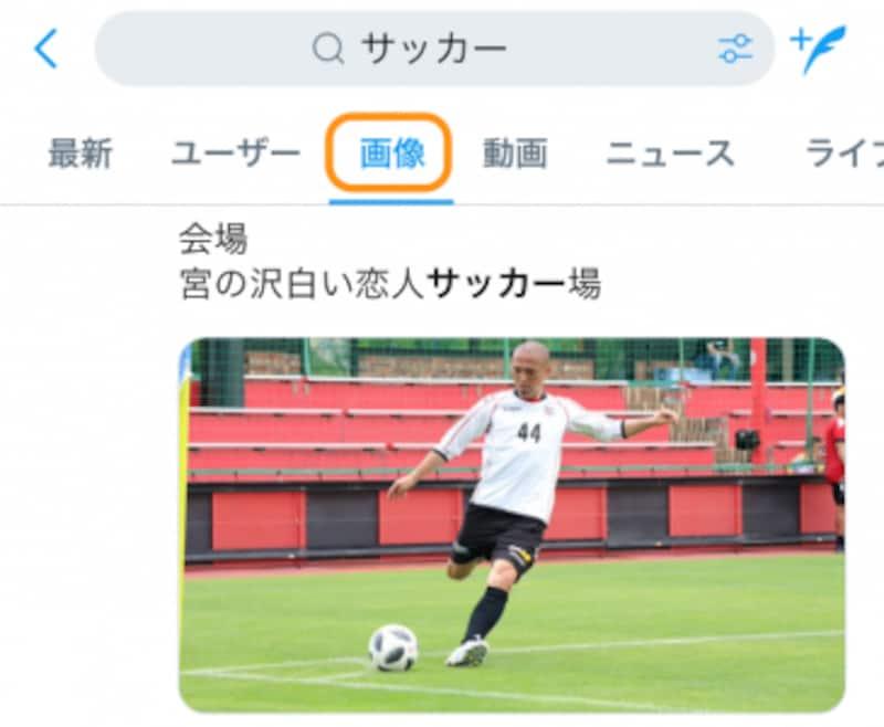 [画像]をタップすると、ツイートにキーワードが含まれている画像付きツイートが検索結果として表示される