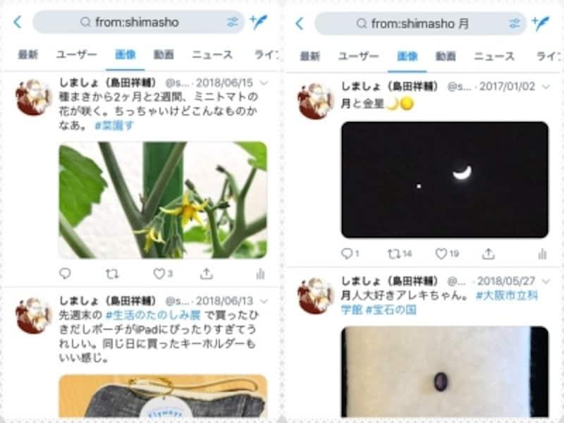 (左)「from:shimasho」の画像検索結果。(右)「from:shimasho月」の画像検索結果