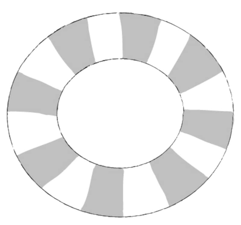 モノクロ/ストライプ模様の浮き輪です。