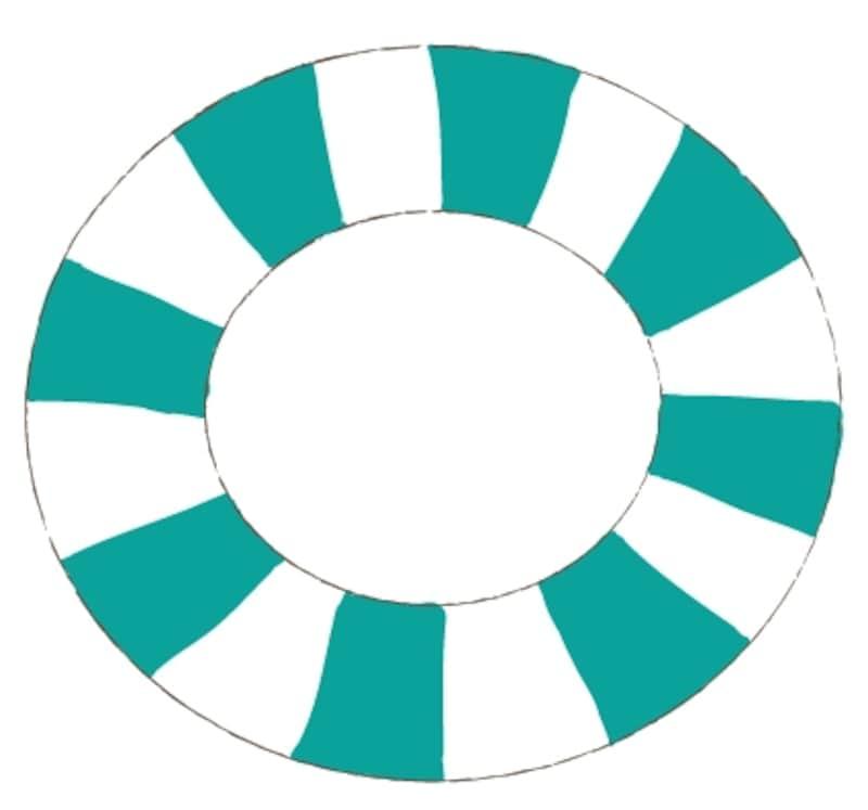 カラー/ストライプ模様の緑色の浮き輪です。