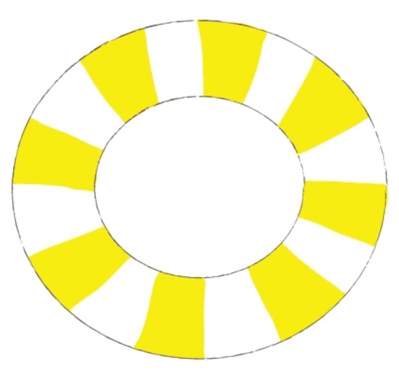 カラー/ストライプ模様の黄色の浮き輪です。