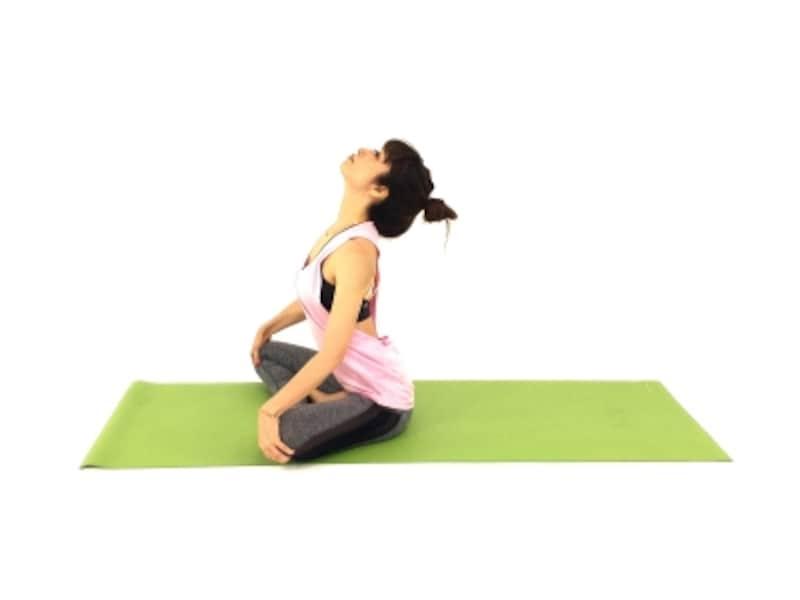 背中スッキリ僧帽筋ストレッチ2undefined息を吸いながら、目線を上に向けながら、お腹・胸を伸ばします