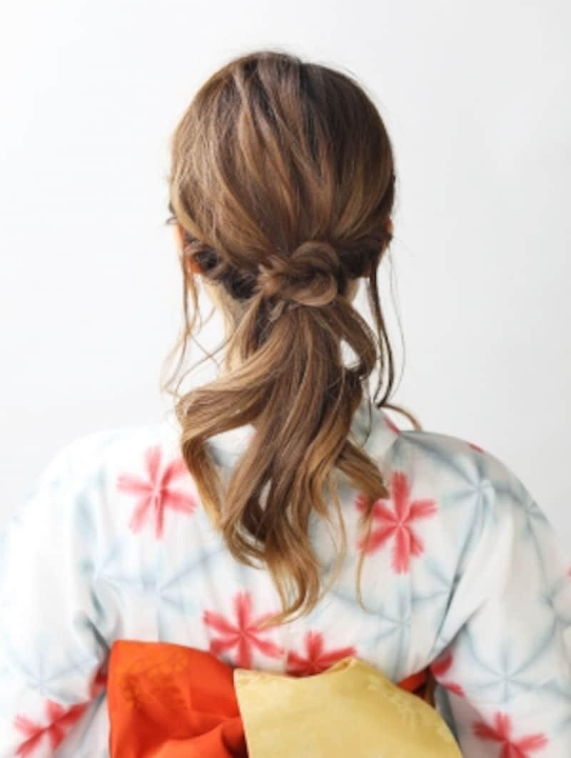 【ロング浴衣】ねじり編みで作る簡単ローポニーテール