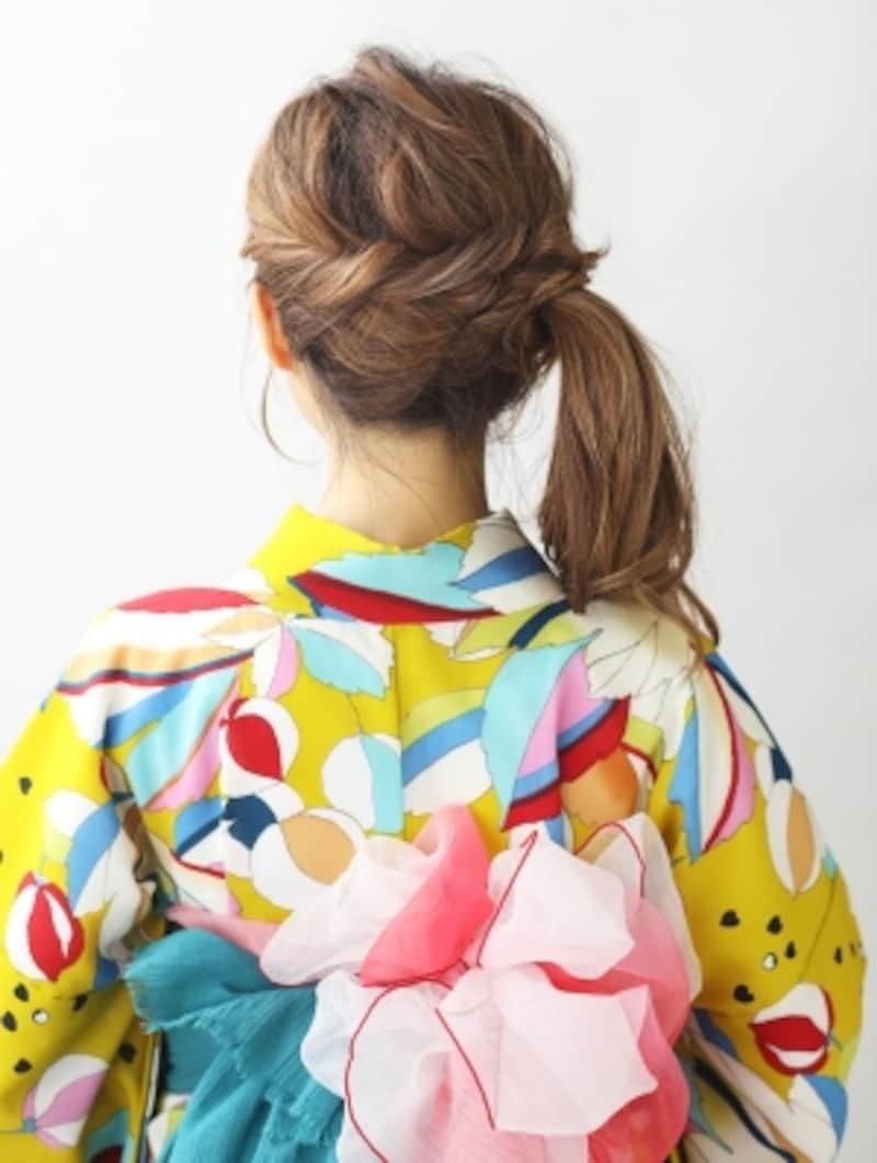 【ロング浴衣】サイドポニーテールの簡単ヘアアレンジ