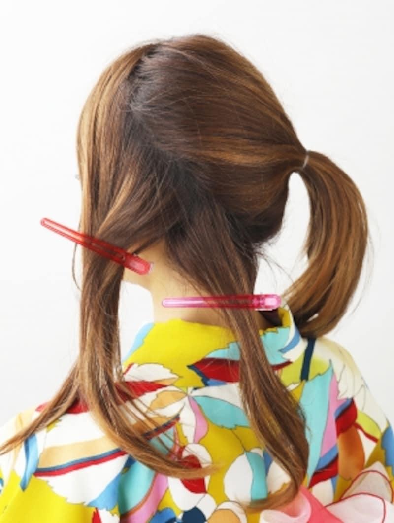 残りの髪をブロッキング
