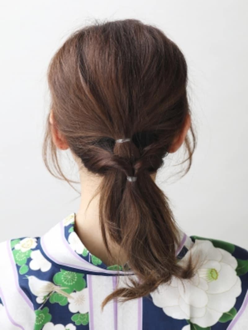 残りの髪を結んでくるりんぱする