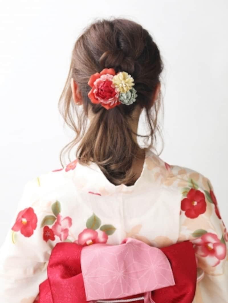 【ミディアム浴衣】三つ編みとくるりんぱで簡単まとめ髪