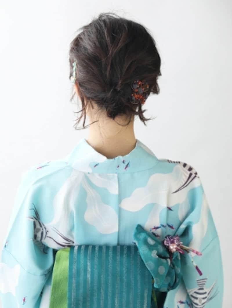 【ショート浴衣】巻き髪くるりんぱで作る浴衣ヘアアレンジ