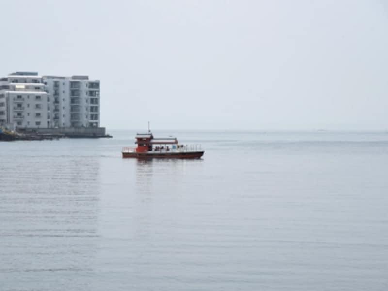 屋形船のような見た目の小さな渡し船が、両岸を行ったり来たり