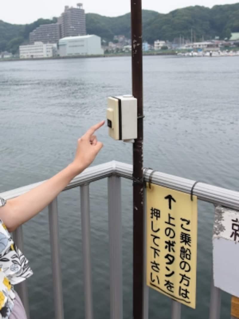 こちら側に船がいないときは「ピンポン」(呼び鈴)を押します