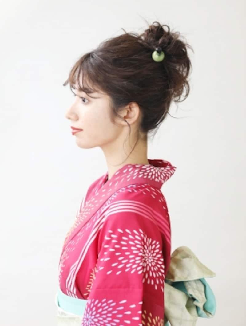 ミディアム浴衣・お団子×外ハネの簡単ヘアアレンジ