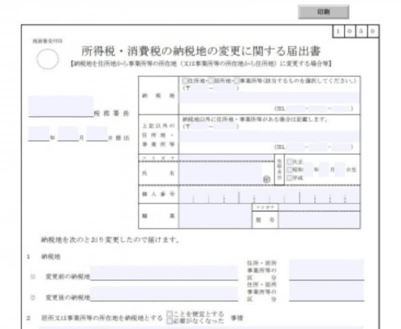 異動届けも変更届けもダウンロードで入手できます(出典:国税庁HP)