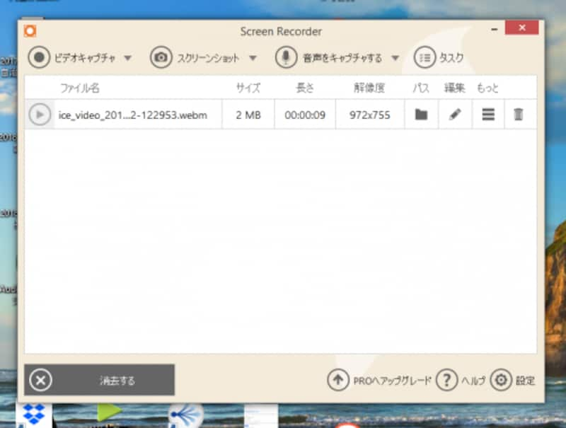 録画したファイルが一覧表示される。無料版ではWebM形式だけに対応している