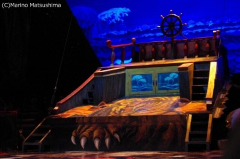 グロールタイガーの帆船が前倒しになって現れる様を実演。(C)MarinoMatsushima
