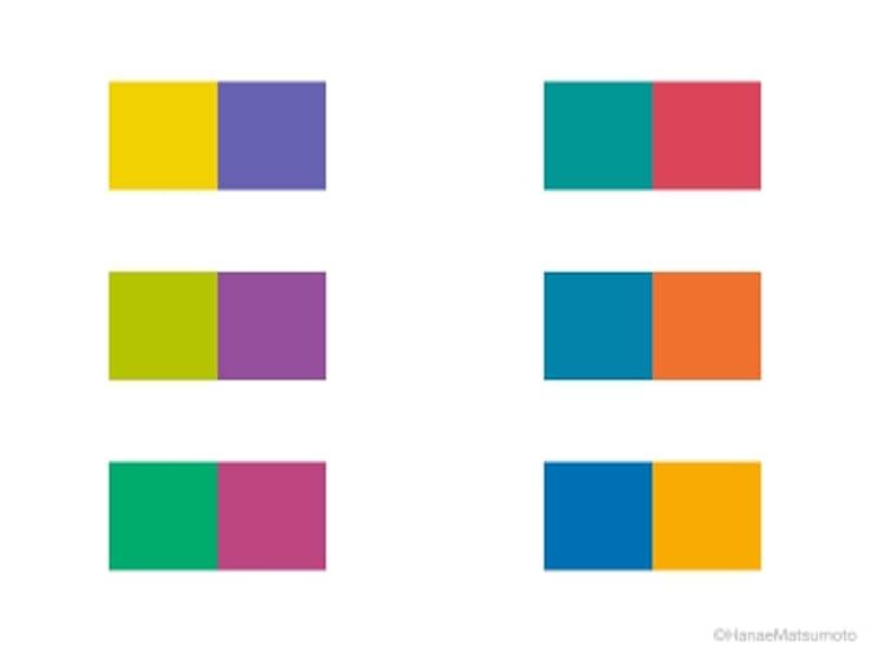 補色のビビッドトーンを組合せた6つの配色例