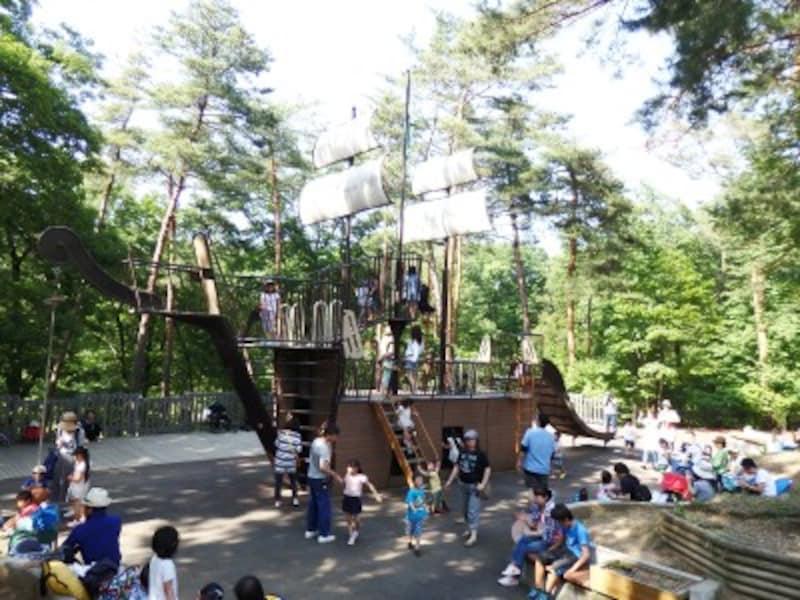 冒険コースのアスレチックコースに設置された大きな木製遊具