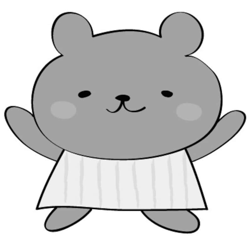 くま 動物 イラスト 白黒 かわいい