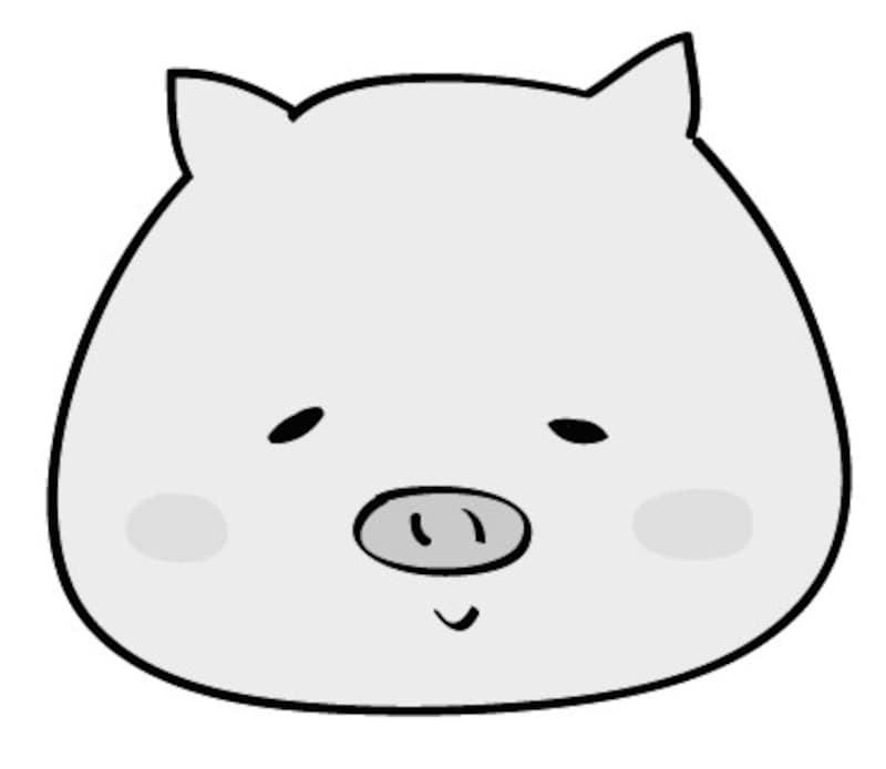 ぶた 動物 イラスト 白黒 かわいい