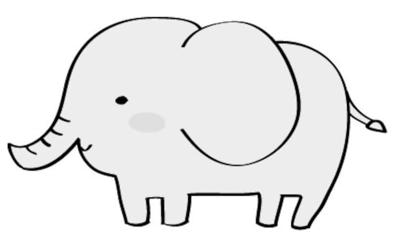 ぞう 動物 イラスト 白黒 かわいい