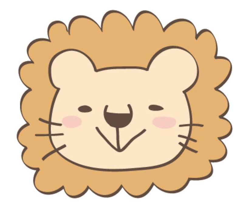 ライオン 動物 イラスト カラー かわいい