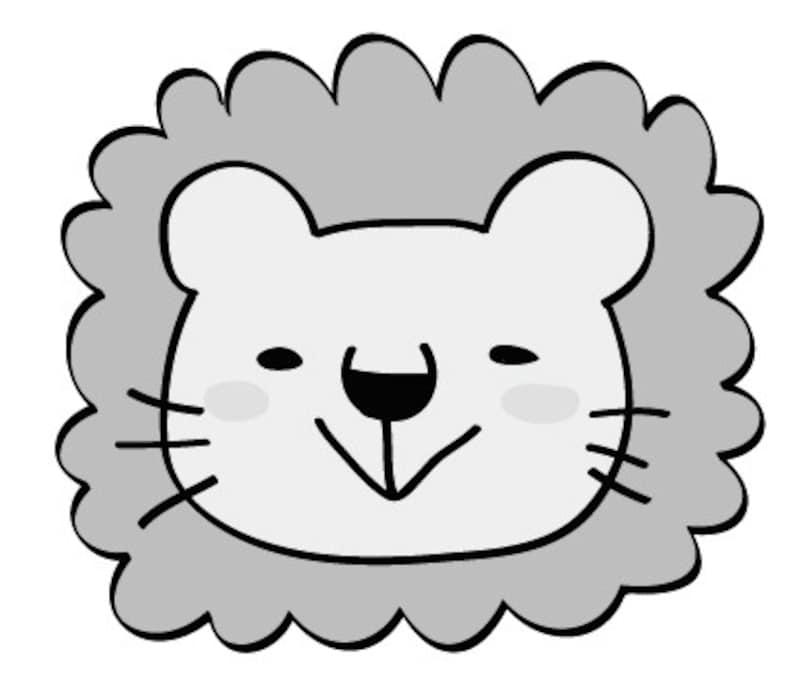 ライオン 動物 イラスト 白黒 かわいい