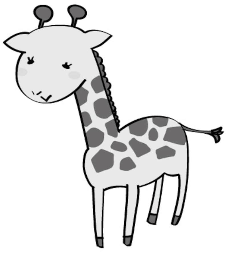 キリン 動物 イラスト 白黒 かわいい