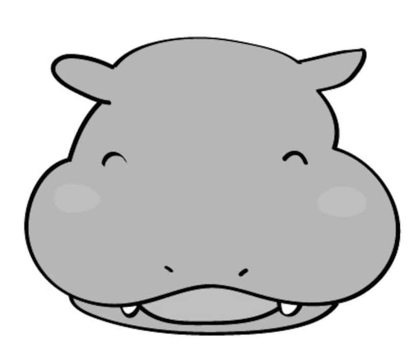 カバ 動物 イラスト 白黒 かわいい
