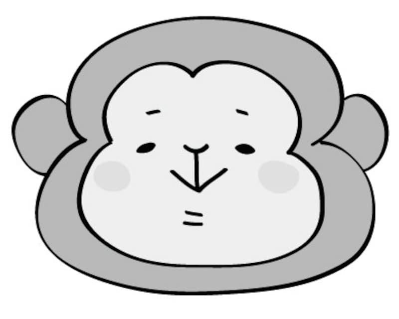 さる 動物 イラスト 白黒 かわいい