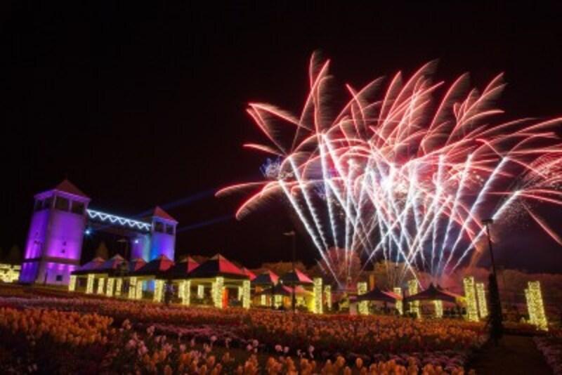 フラワーパークのロマンチックな花火大会