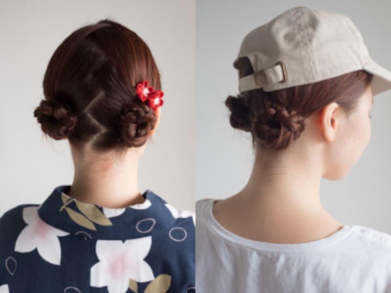 子供の髪型はお団子2つ!浴衣や帽子に似合う簡単ヘアアレンジ