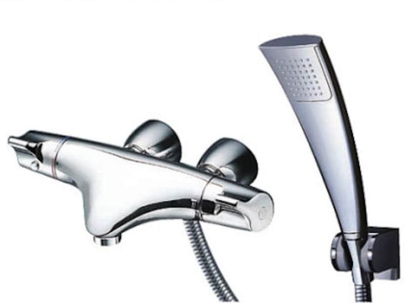 美しい曲線を持つデザインが魅力。[壁付サーモスタット混合水栓 ニューウエーブシリーズ TMNW40EC1R] TOTO https://jp.toto.com/
